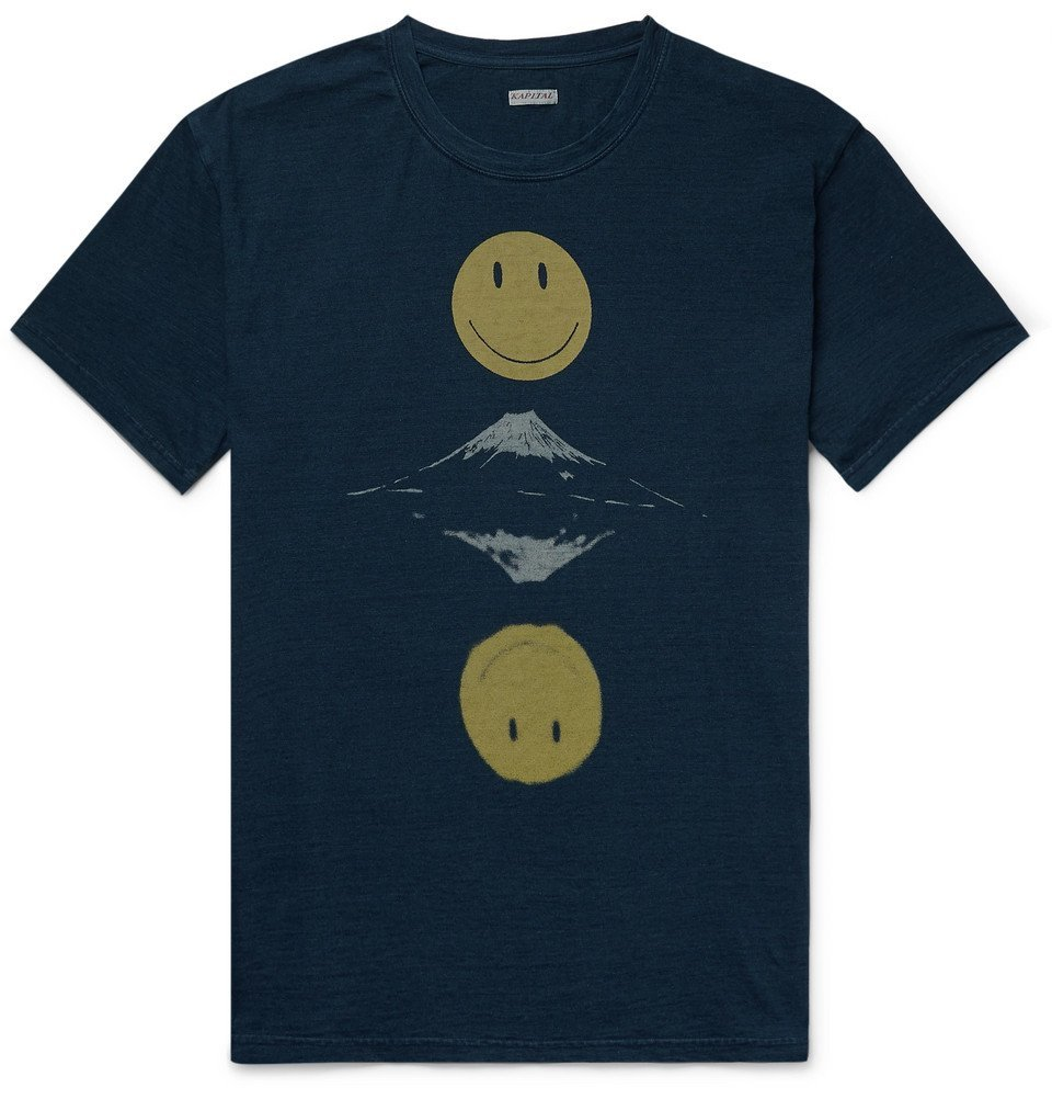 KAPITAL - Printed Mélange Cotton-Jersey T-Shirt - Storm blue