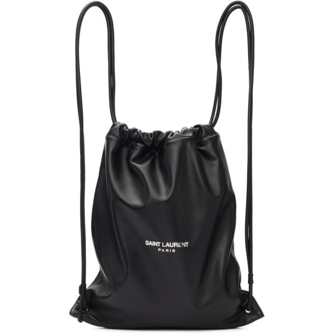 Photo: Saint Laurent Black Lambskin Drawstring Backpack