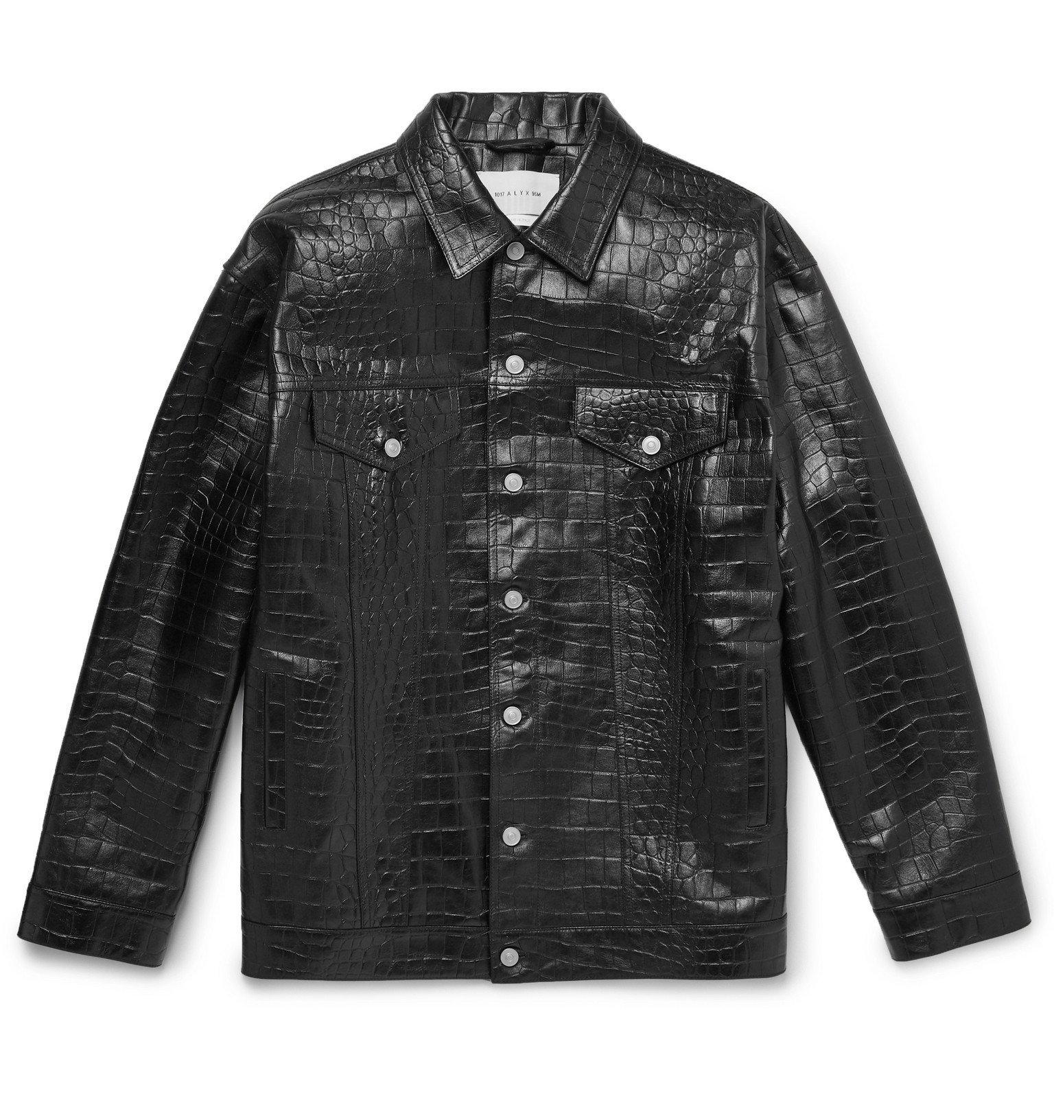 Photo: 1017 ALYX 9SM - Oversized Croc-Effect Leather Overshirt - Black