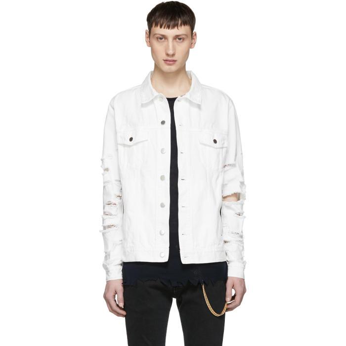 Photo: Balmain White Vintage Destroy Denim Jacket