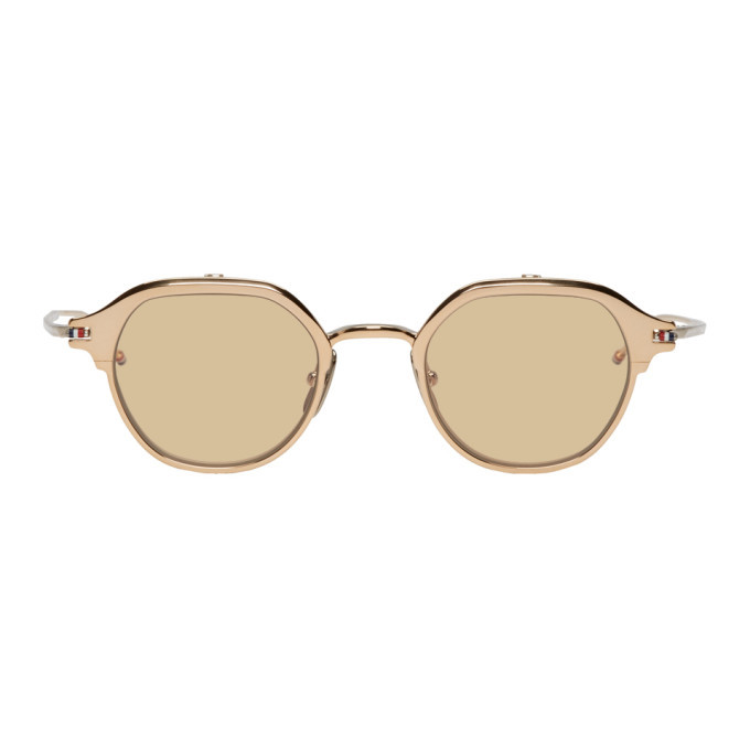 Photo: Thom Browne Gold and Silver TBS812 Flip-Up Sunglasses