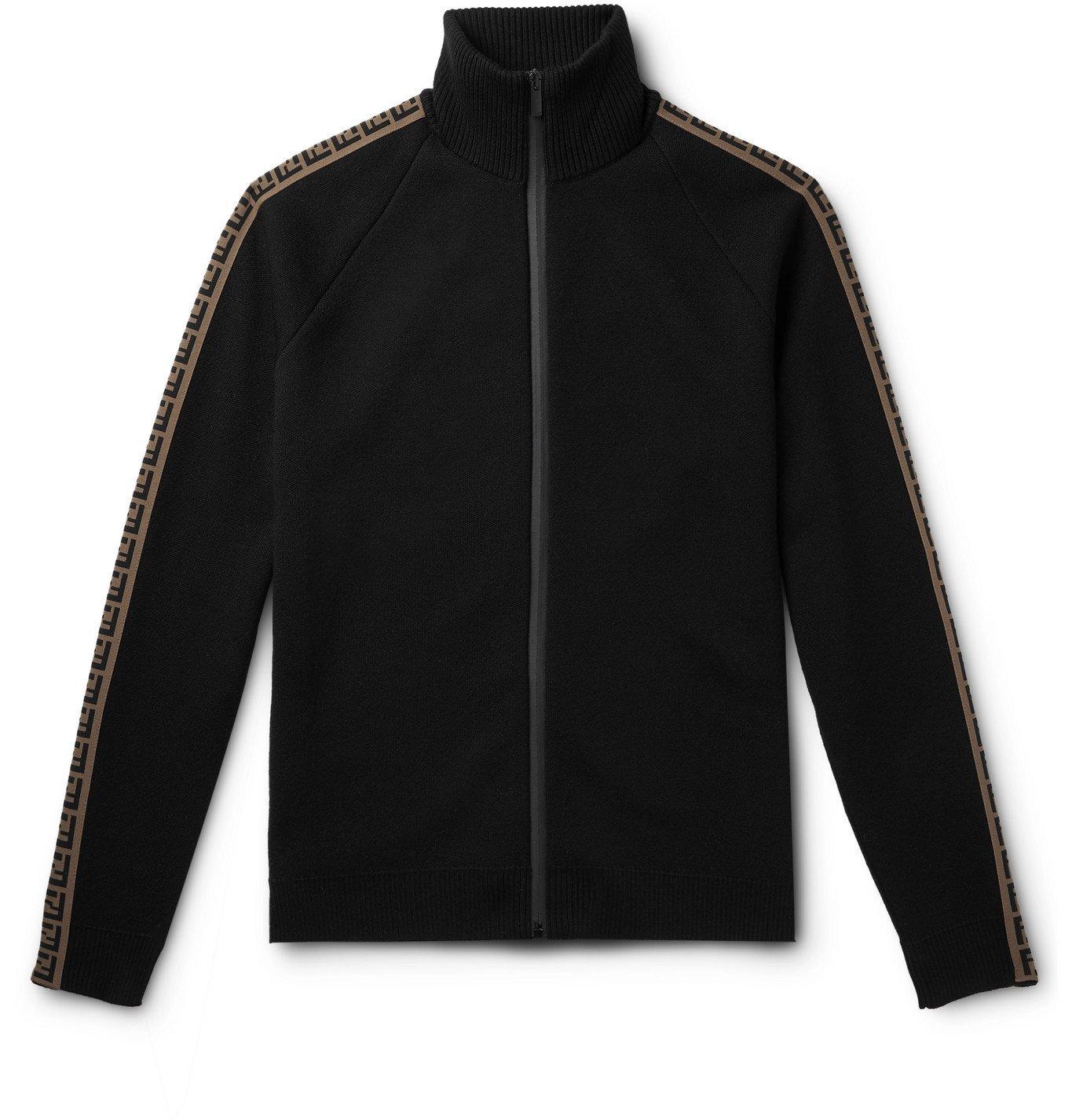 Photo: Fendi - Logo-Intarsia Knitted Track Jacket - Black