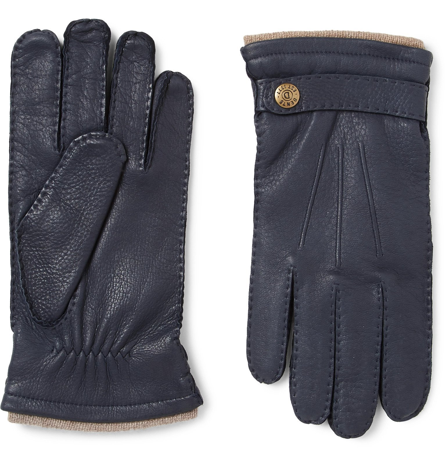 Photo: Dents - Bath Cashmere-Lined Leather Gloves - Blue