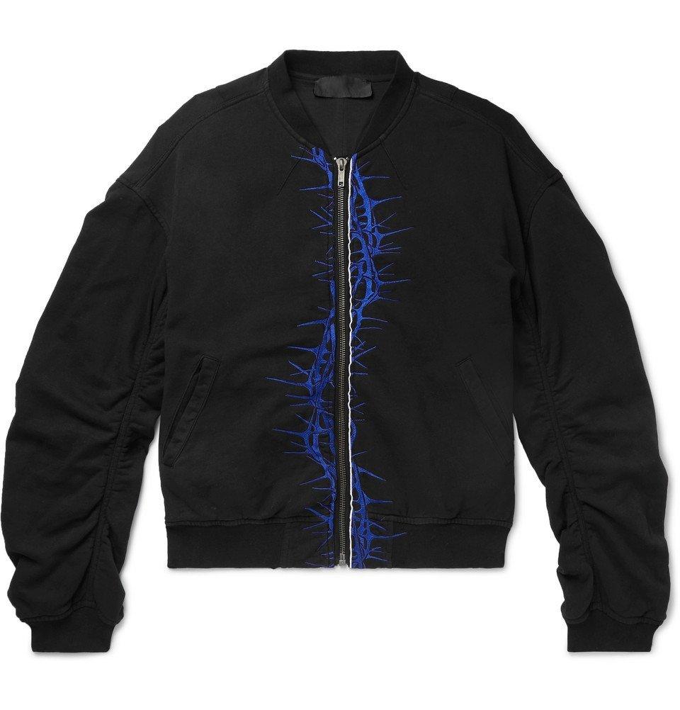 Photo: Haider Ackermann - Oversized Embroidered Cotton-Jersey Bomber Jacket - Black