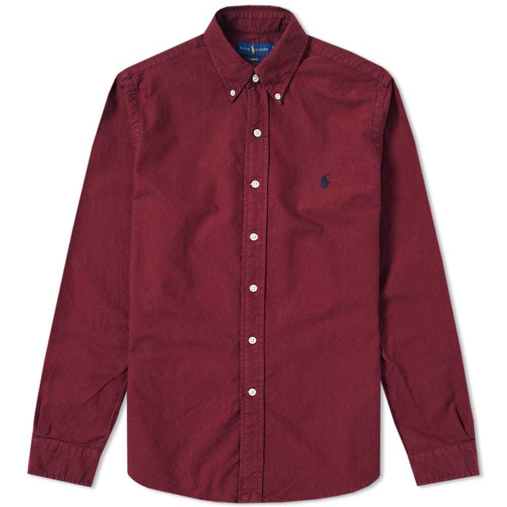 Photo: Polo Ralph Lauren Slim Fit Garment Dyed Button Down Shirt Burgundy