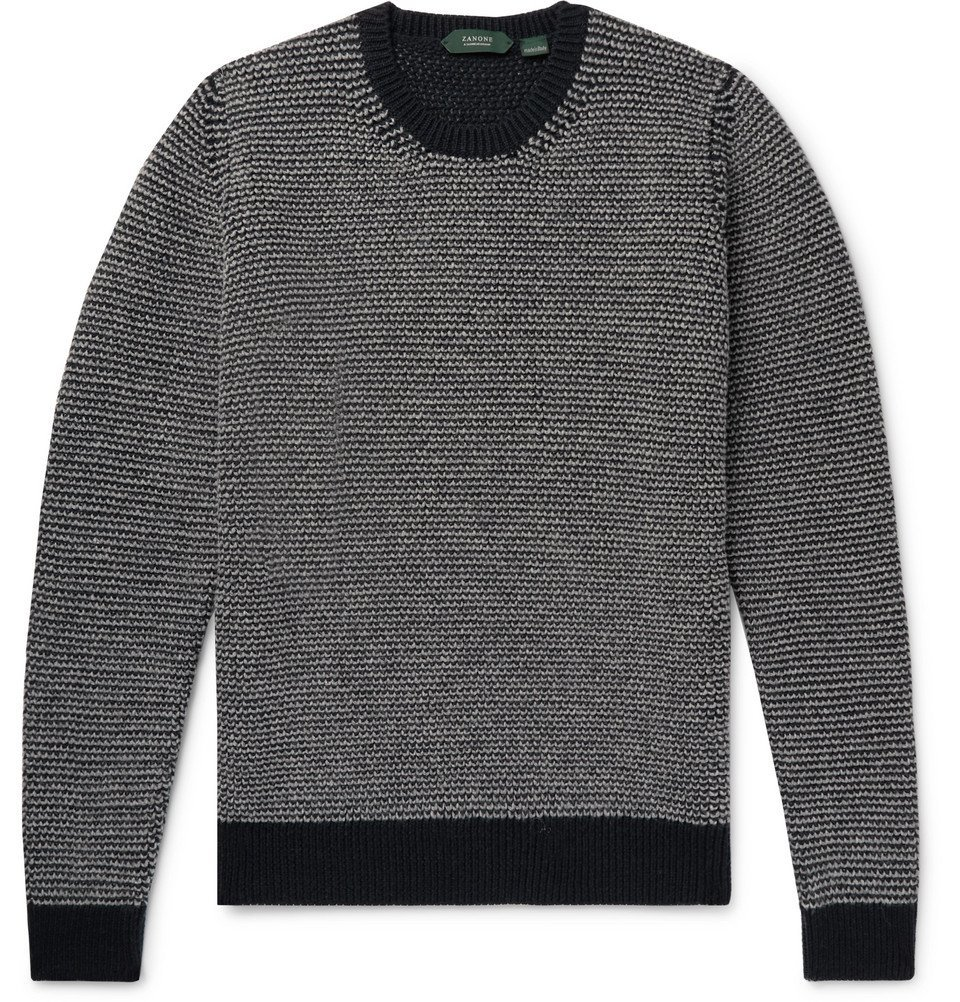 Photo: Incotex - Striped Wool Sweater - Gray