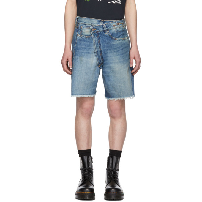 Photo: R13 Blue Denim Crossover Shorts