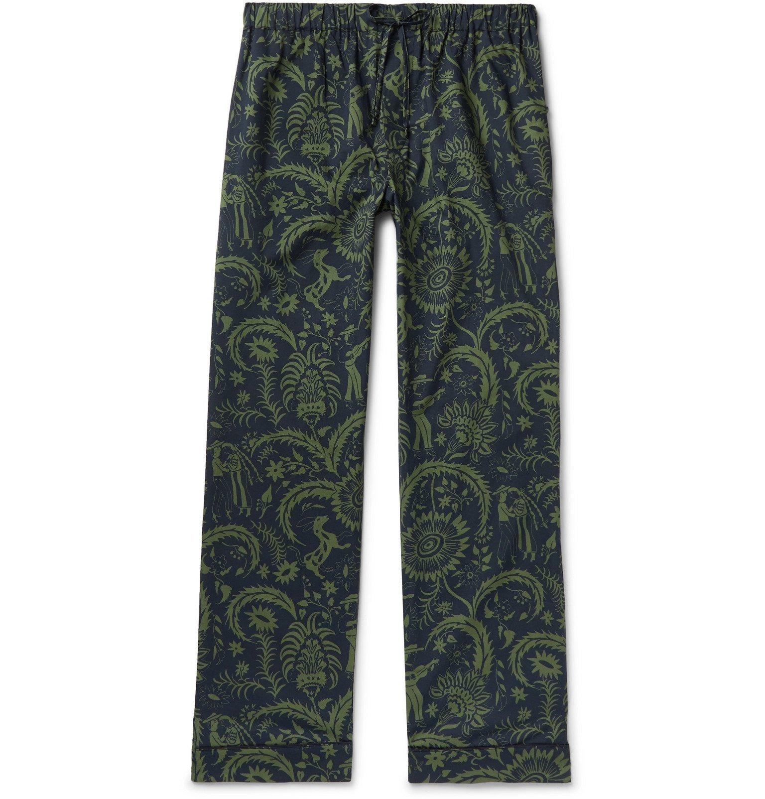 Photo: Desmond & Dempsey - Printed Cotton Pyjama Trousers - Green