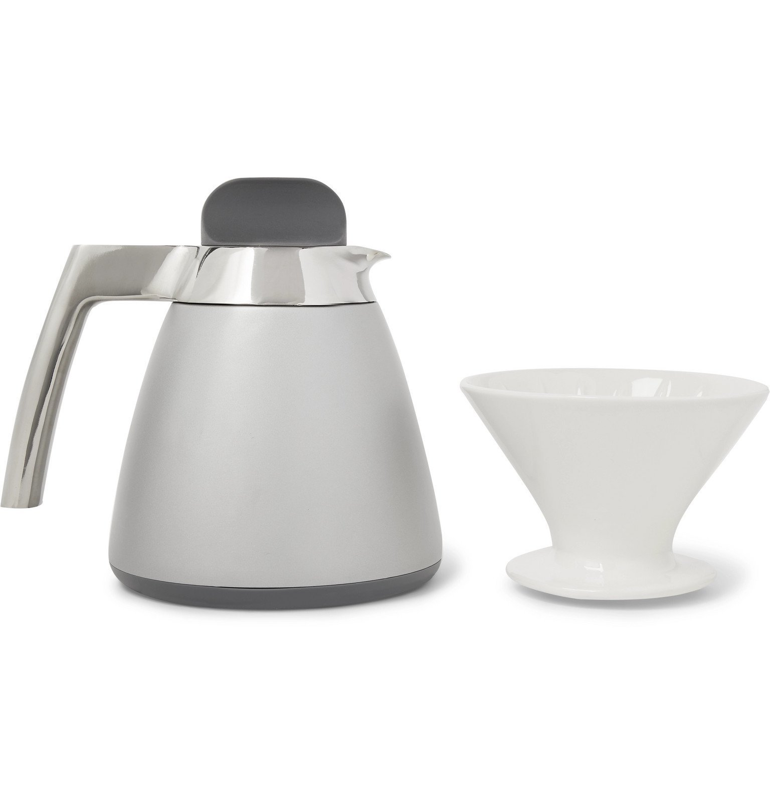 Photo: Ratio Coffee - Stainless Steel Thermal Carafe with Porcelain Dripper - Silver