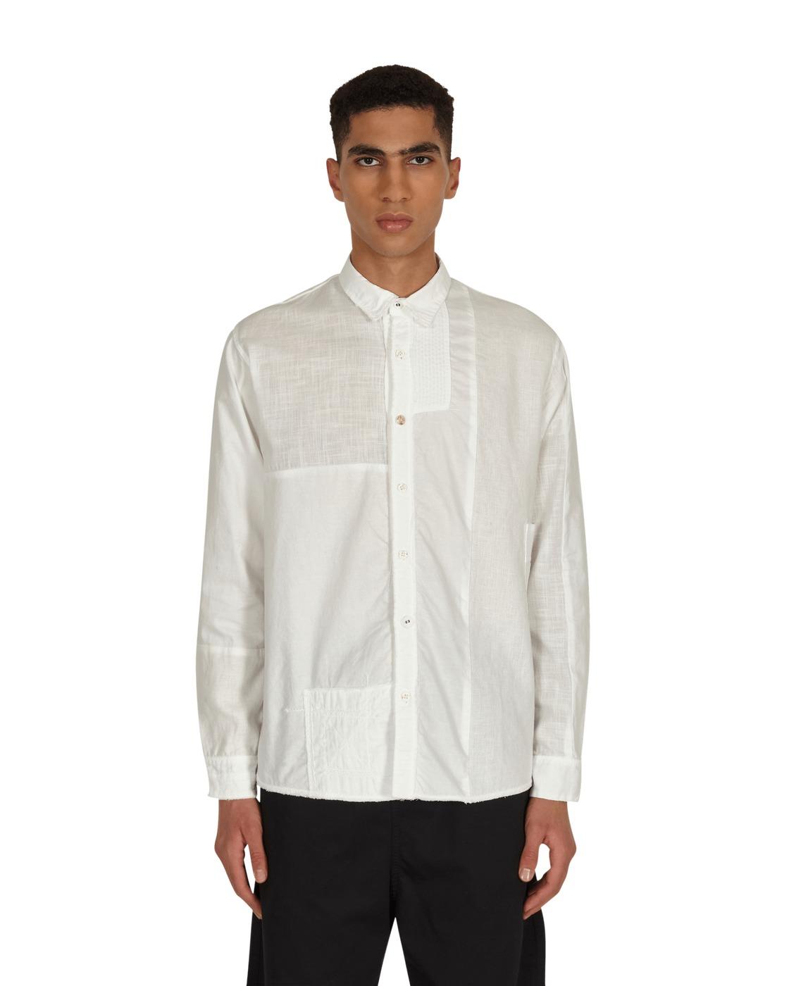 Kapital Cotton / Linen Patchwork Kathmandu Shirt White