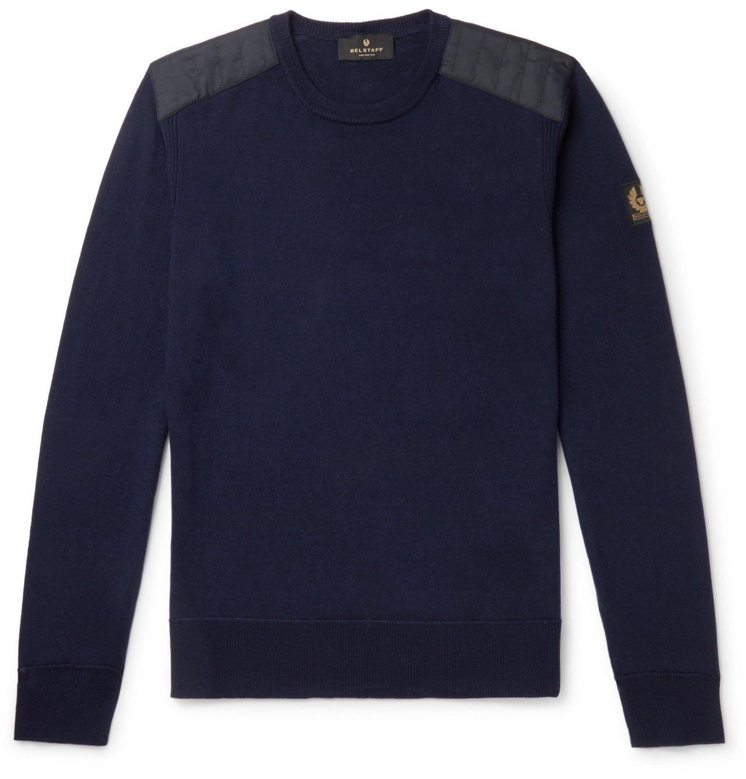 Belstaff - Kerrigan Slim-Fit Quilted Shell-Trimmed Virgin Wool Sweater - Blue