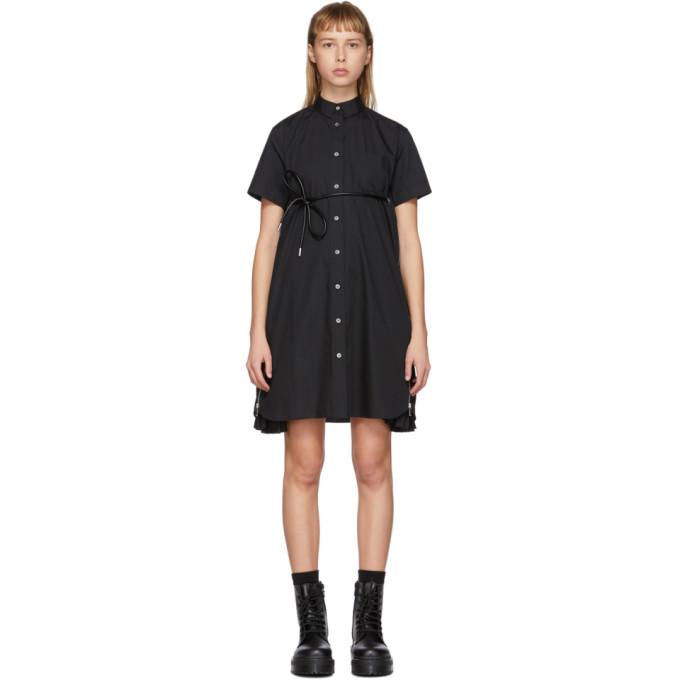 Sacai Black Poplin Belted Zip Dress