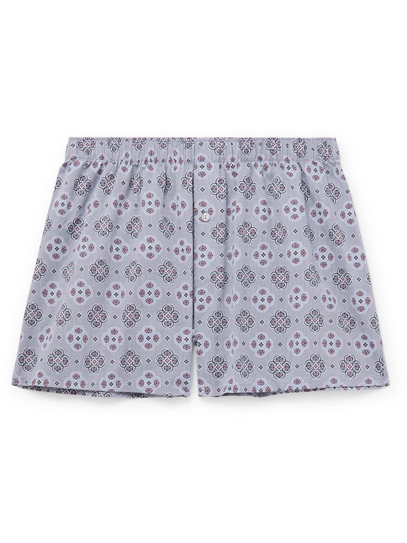 HANRO - Printed Cotton Boxer Shorts - Blue - XL