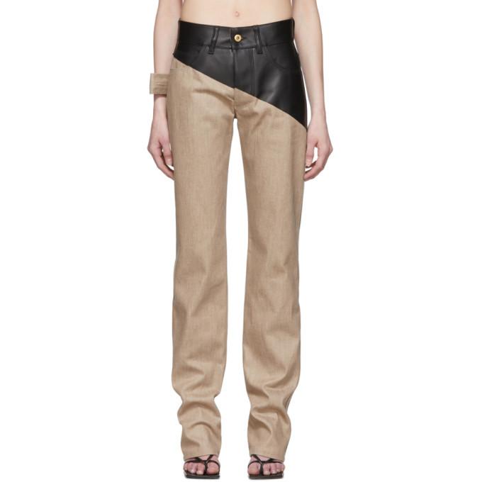 Photo: Bottega Veneta Brown Leather Jeans