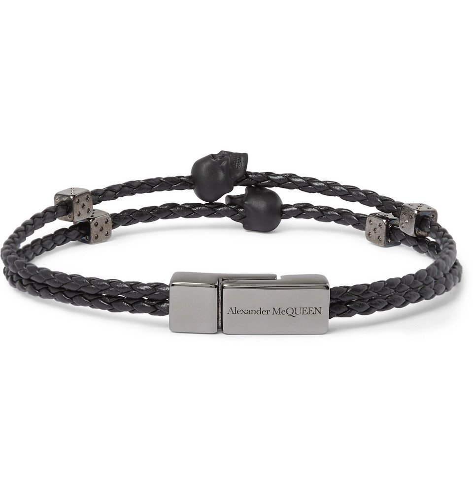 Photo: Alexander McQueen - Gunmetal-Tone and Braided Leather Bracelet - Black