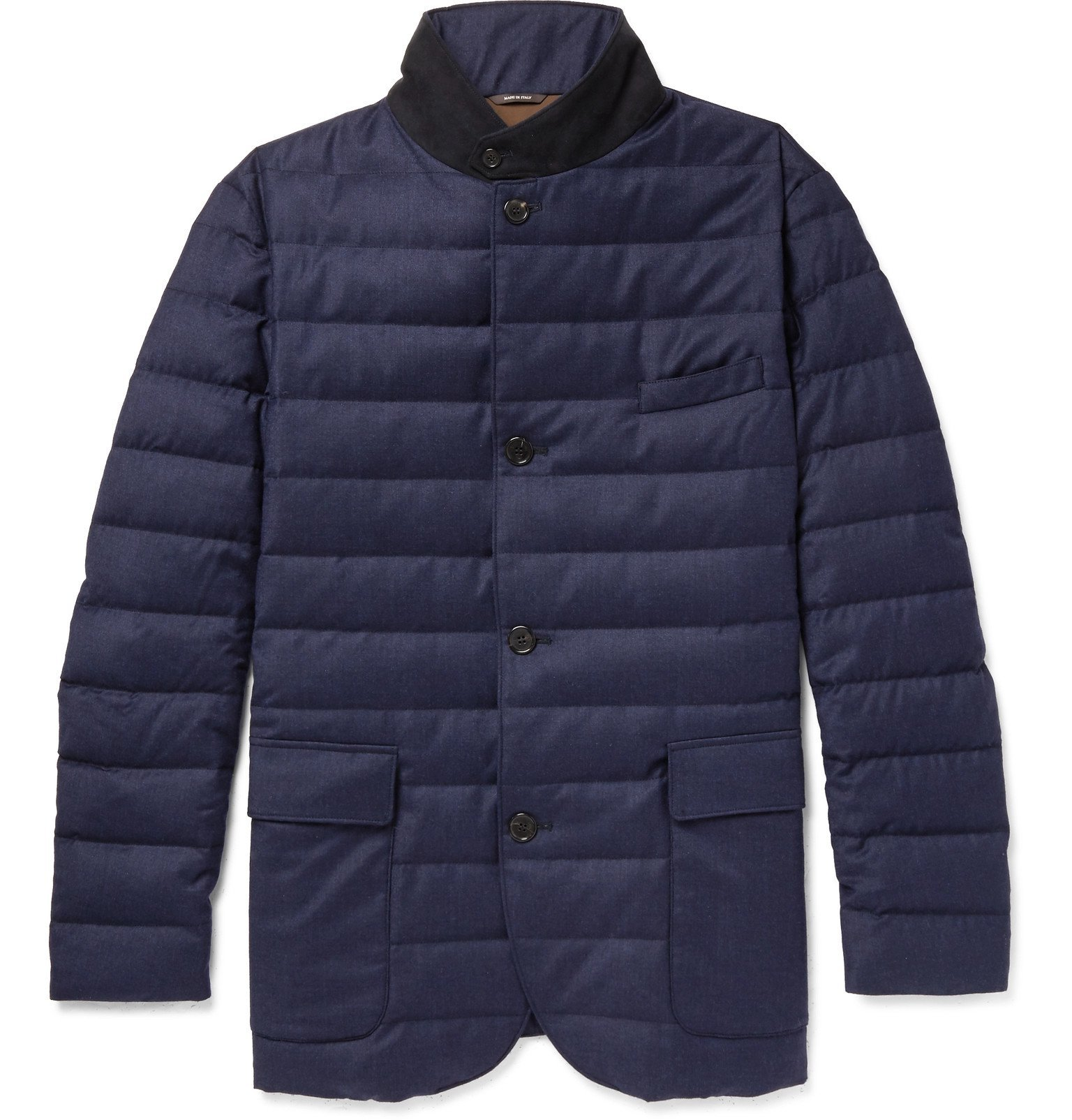 Photo: Loro Piana - Roadster Quilted Rain System Wool and Silk-Blend Down Jacket - Blue