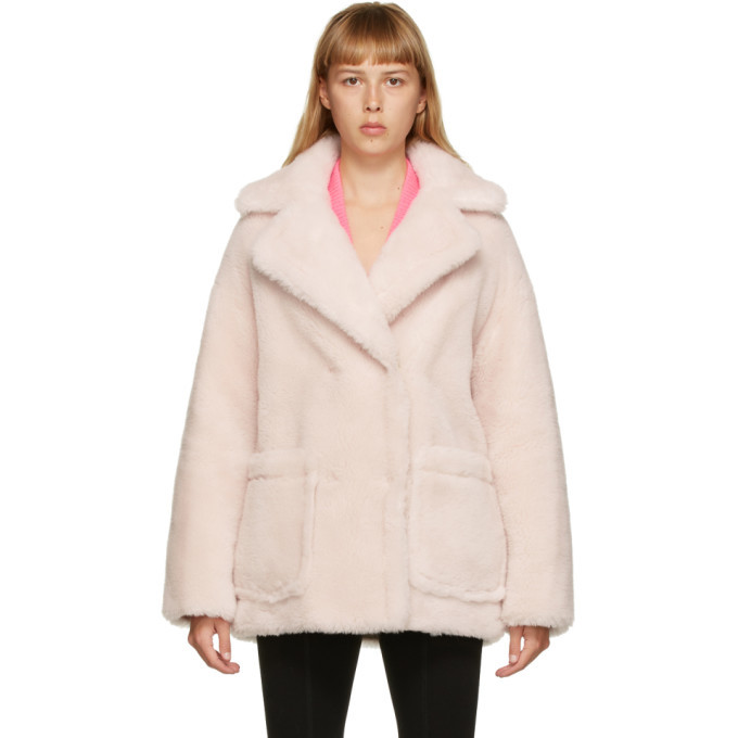 Photo: Yves Salomon - Meteo Pink Wool Short Double-Breasted Coat