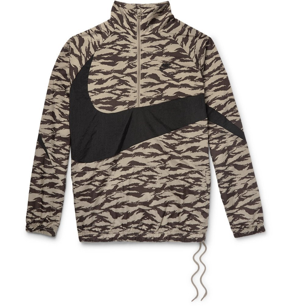 Photo: Nike - Sportswear Vaporwave Packable Printed Nylon Half-Zip Jacket - Beige