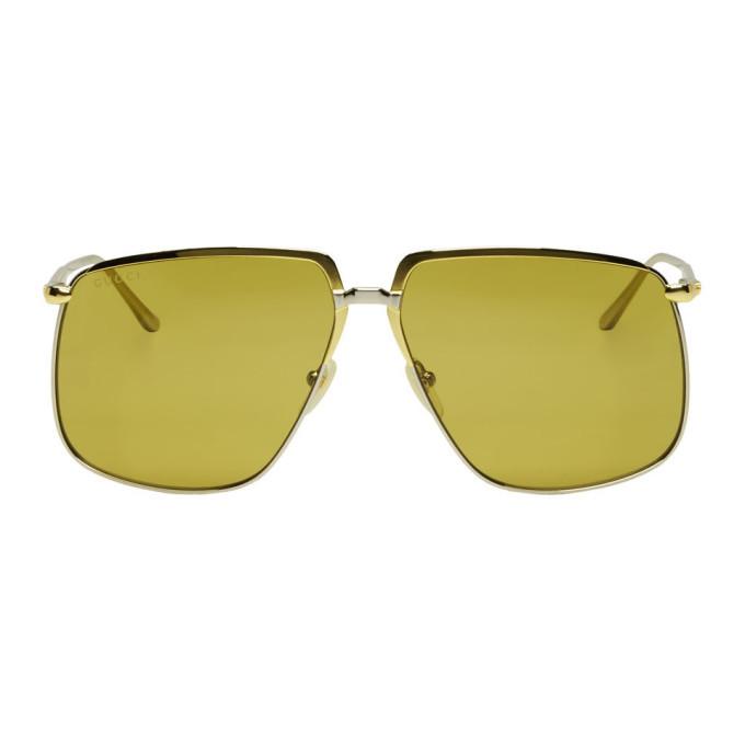 Photo: Gucci Gold and Silver Oversized Square Sunglasses
