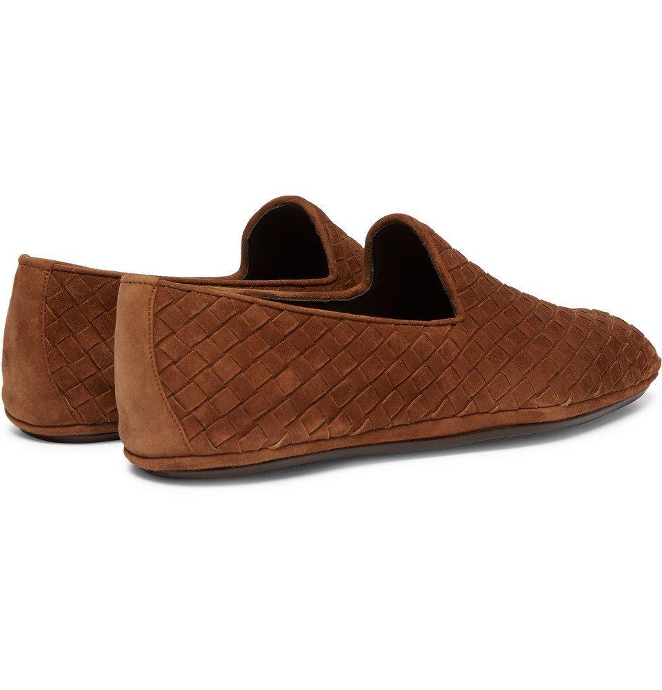 Bottega Veneta - Intrecciato Suede Slippers - Men - Brown