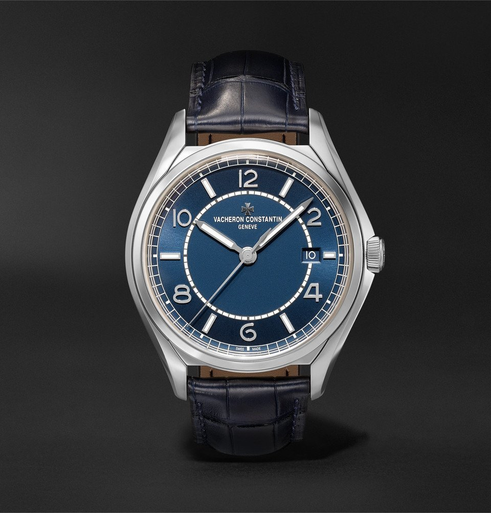 Photo: Vacheron Constantin - Fiftysix Automatic 40mm Stainless Steel and Alligator Watch - Blue