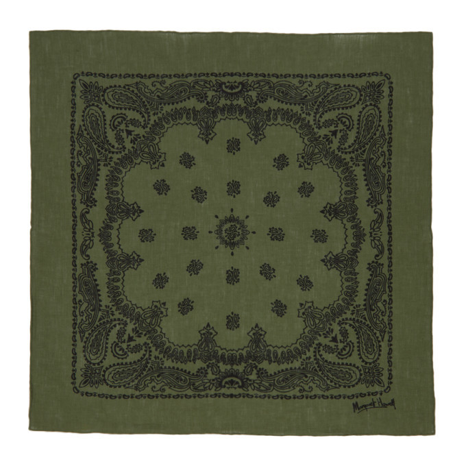 Margaret Howell Green and Black Linen Paisley Print Scarf