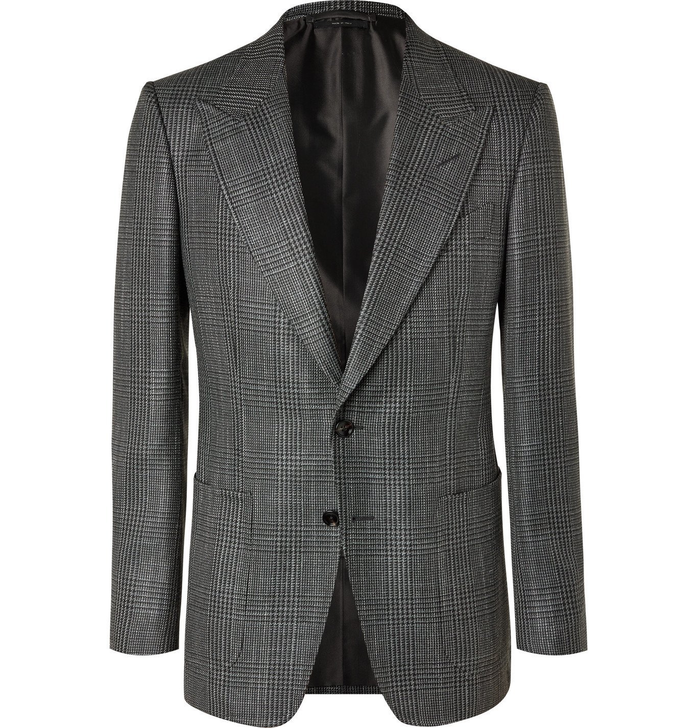 Photo: TOM FORD - Shelton Slim-Fit Prince of Wales Checked Wool, Mohair and Silk-Blend Blazer - Gray