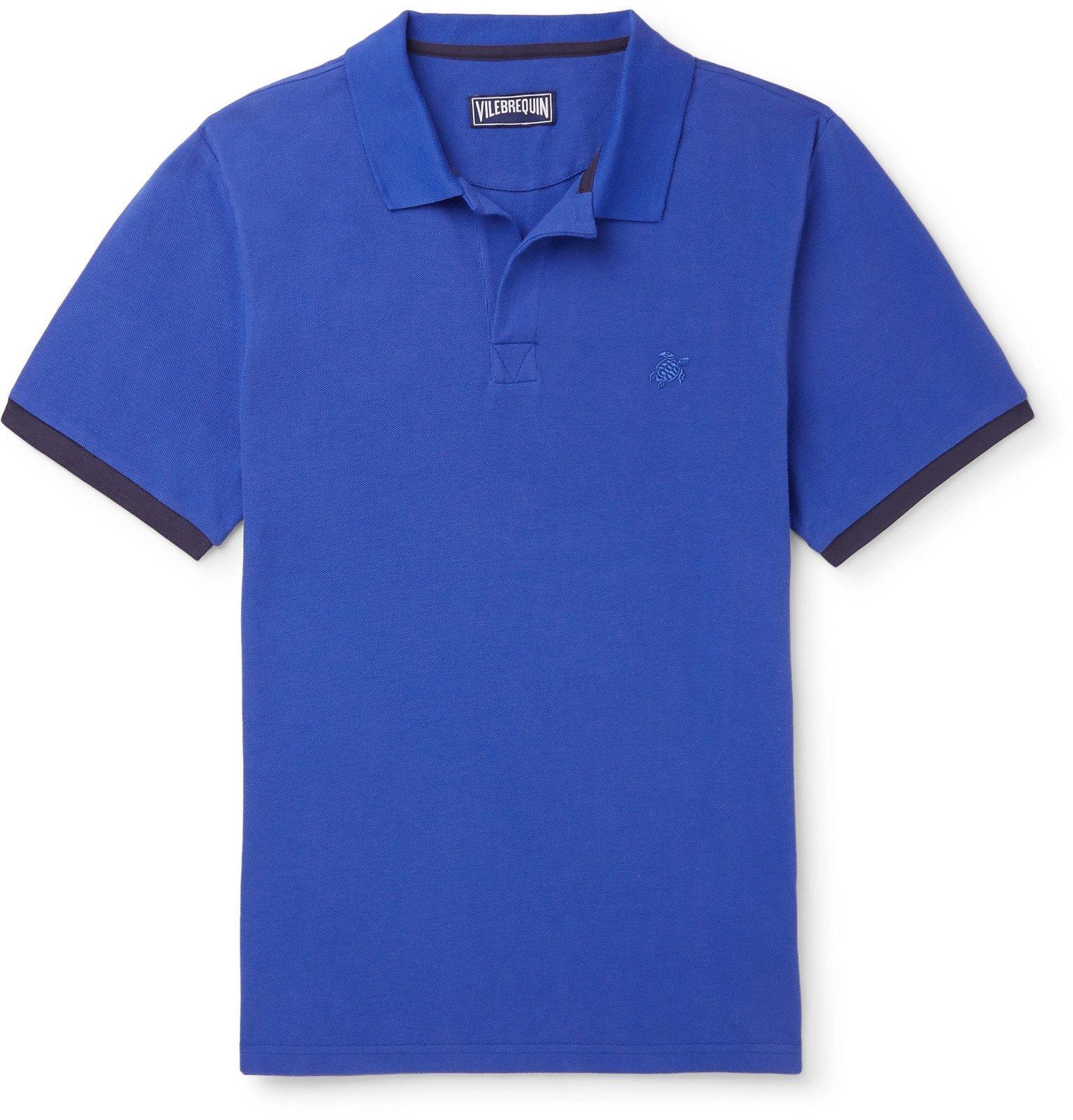Photo: Vilebrequin - Palatin Slim-Fit Contrast-Tipped Cotton-Piqué Polo Shirt - Blue