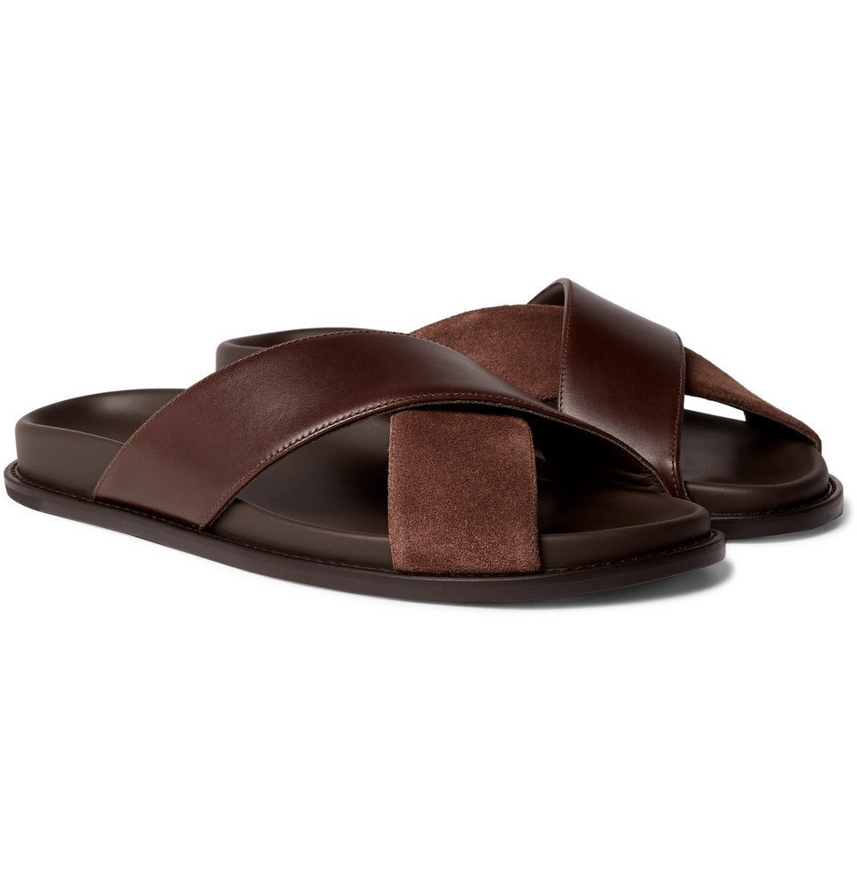 Photo: Mr P. - Leather and Suede Slides - Brown