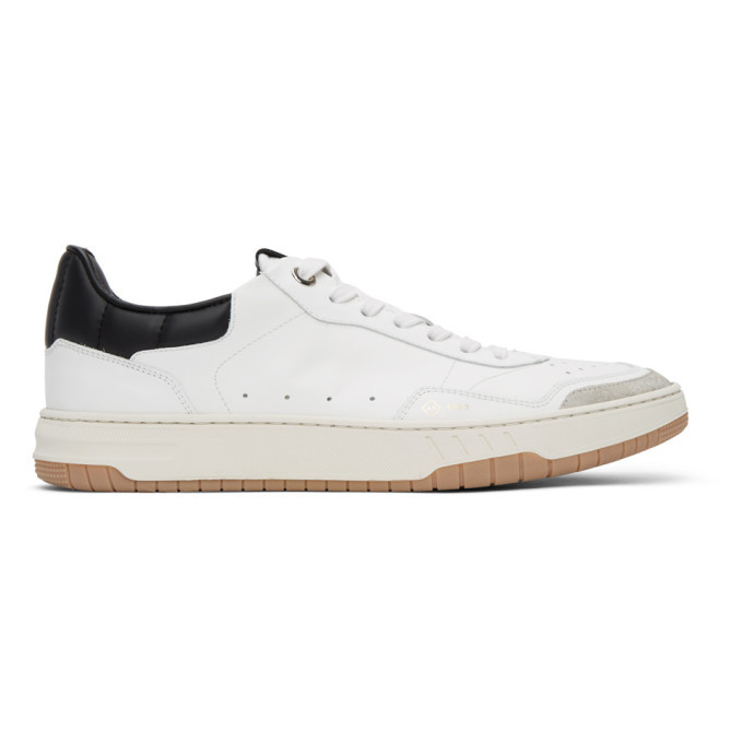 Photo: Dunhill White and Black Court Elite Sneakers