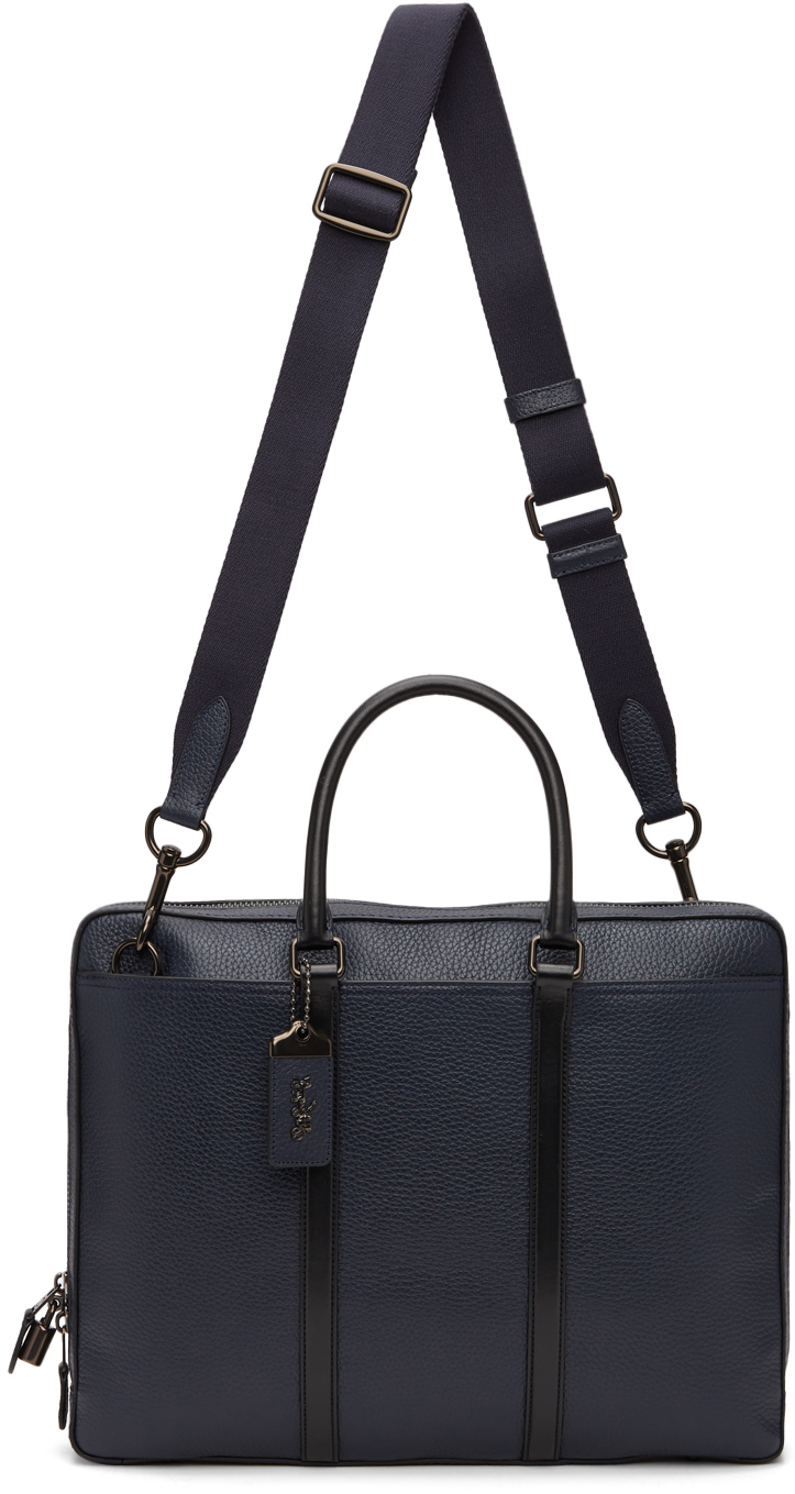 Photo: Coach 1941 Navy Leather Metropolitan Slim Briefcase