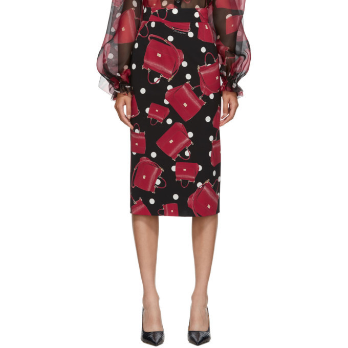 Photo: Dolce and Gabbana Black Sicily Bag Pencil Skirt