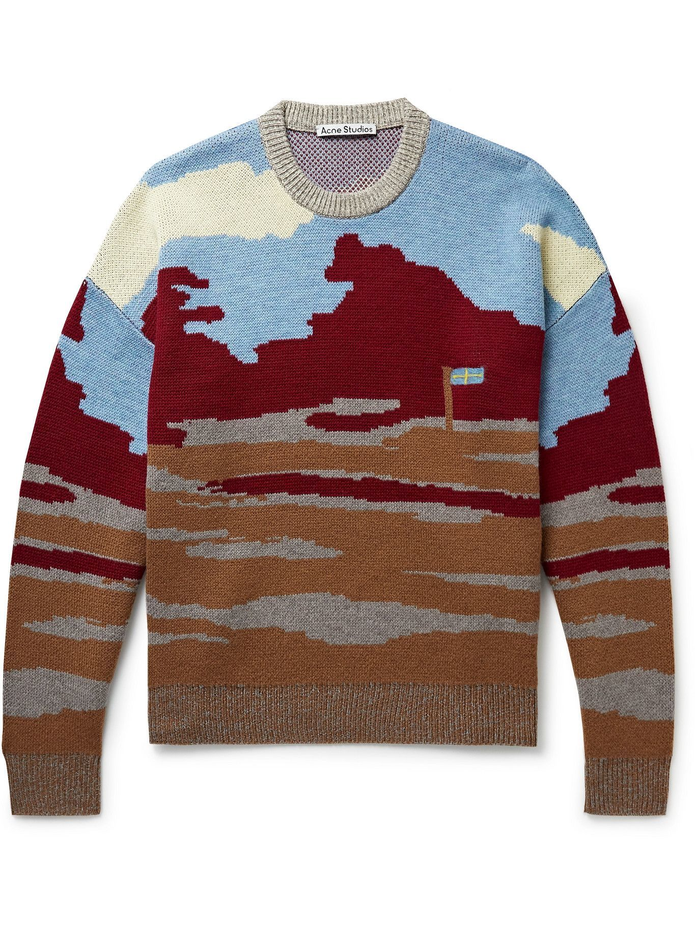 Photo: Acne Studios - Wool and Cotton-Blend Jacquard Sweater - Brown