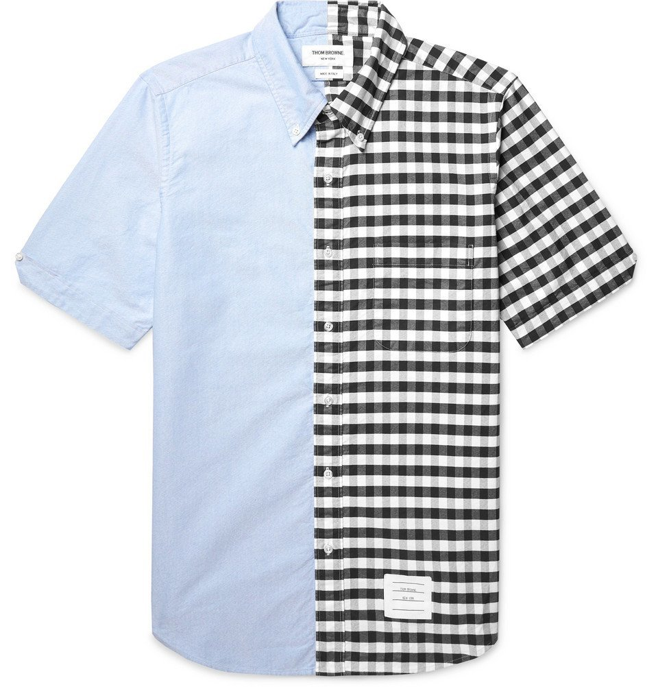 Photo: Thom Browne - Slim-Fit Button-Down Collar Panelled Cotton Oxford Shirt - Blue