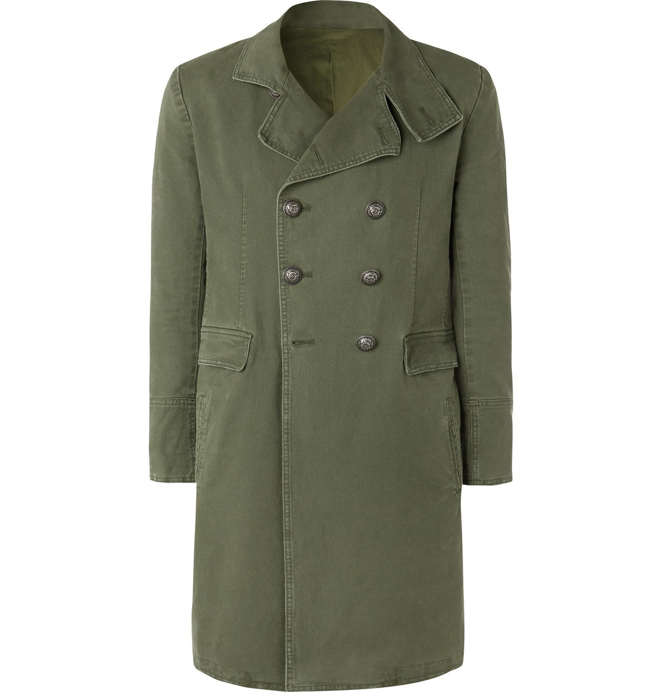 Photo: Balmain - Slim-Fit Double-Breasted Cotton-Canvas Coat - Green
