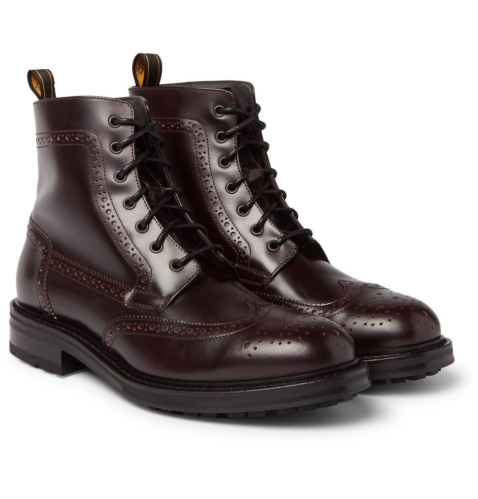 Dunhill - Leather Brogue Boots - Men - Burgundy