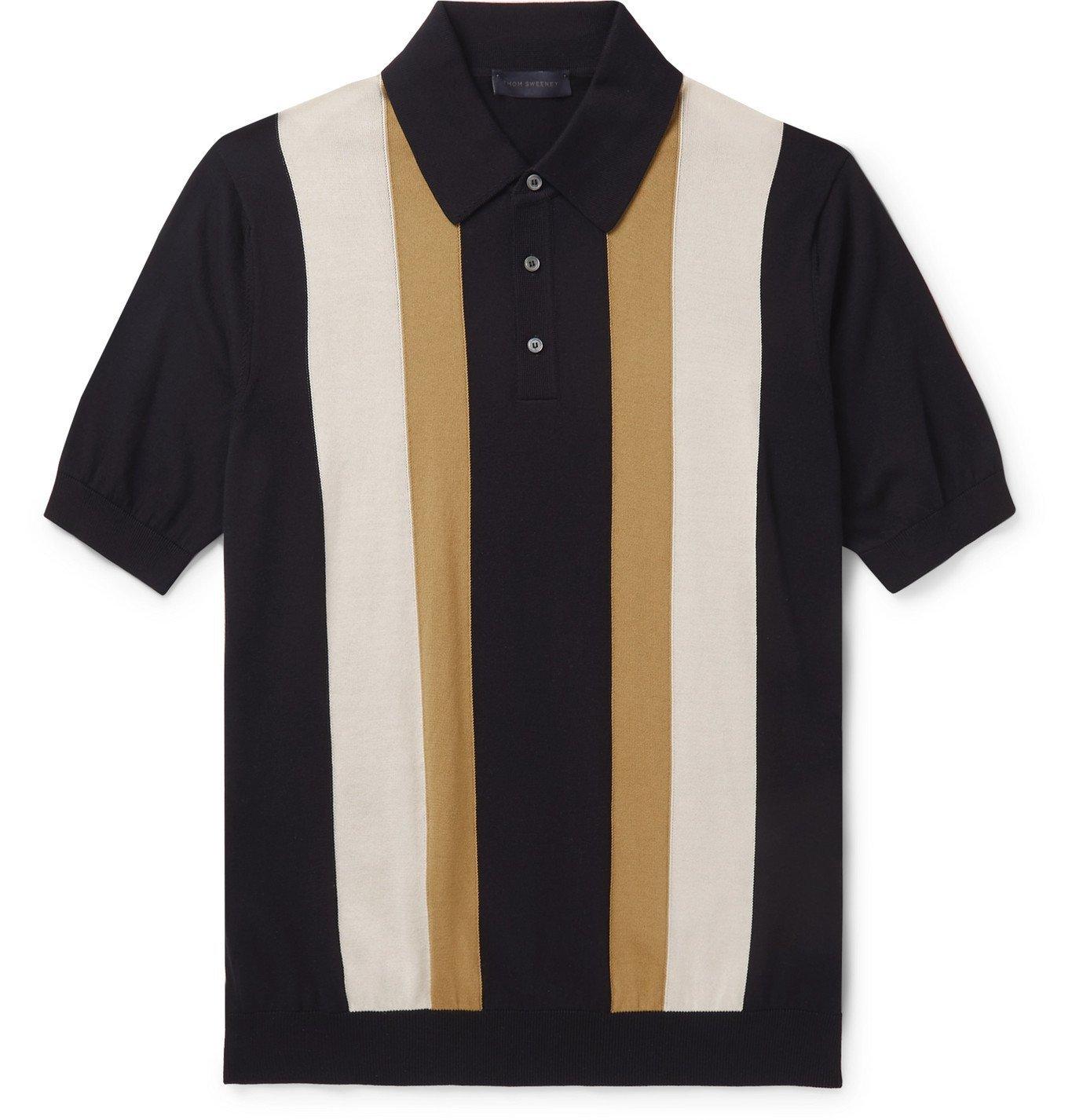 Photo: Thom Sweeney - Striped Cotton Polo Shirt - Blue