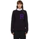 Raf Simons Purple Alpaca Letter Badge Sweater