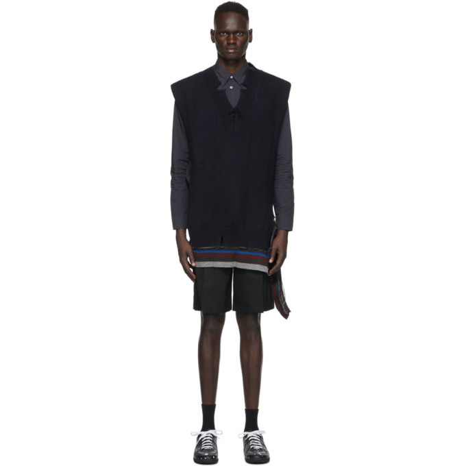Photo: Maison Margiela Navy Gauge 5 Wool Vest