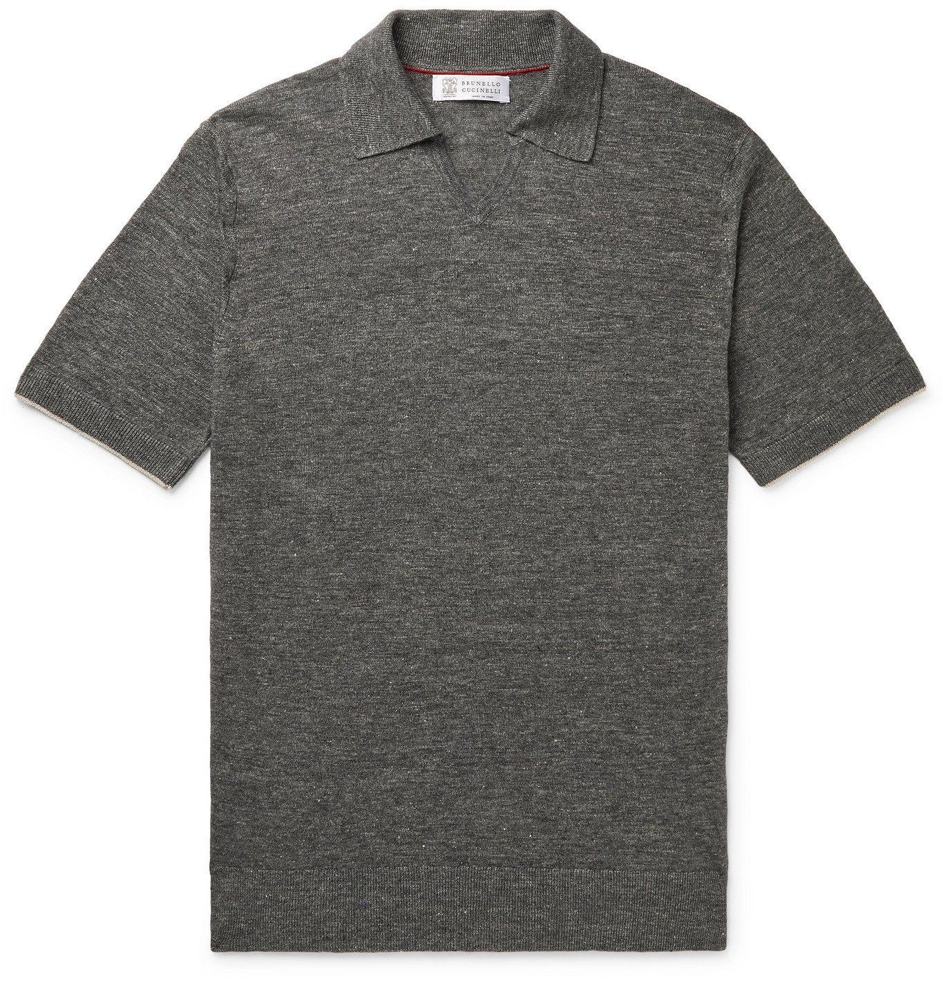 Photo: Brunello Cucinelli - Mélange Linen and Cotton-Blend Polo Shirt - Gray