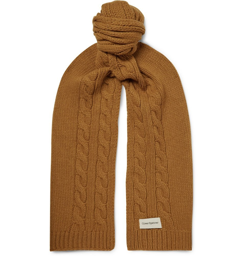 Photo: Oliver Spencer - Arbury Cable-Knit Wool Scarf - Brown