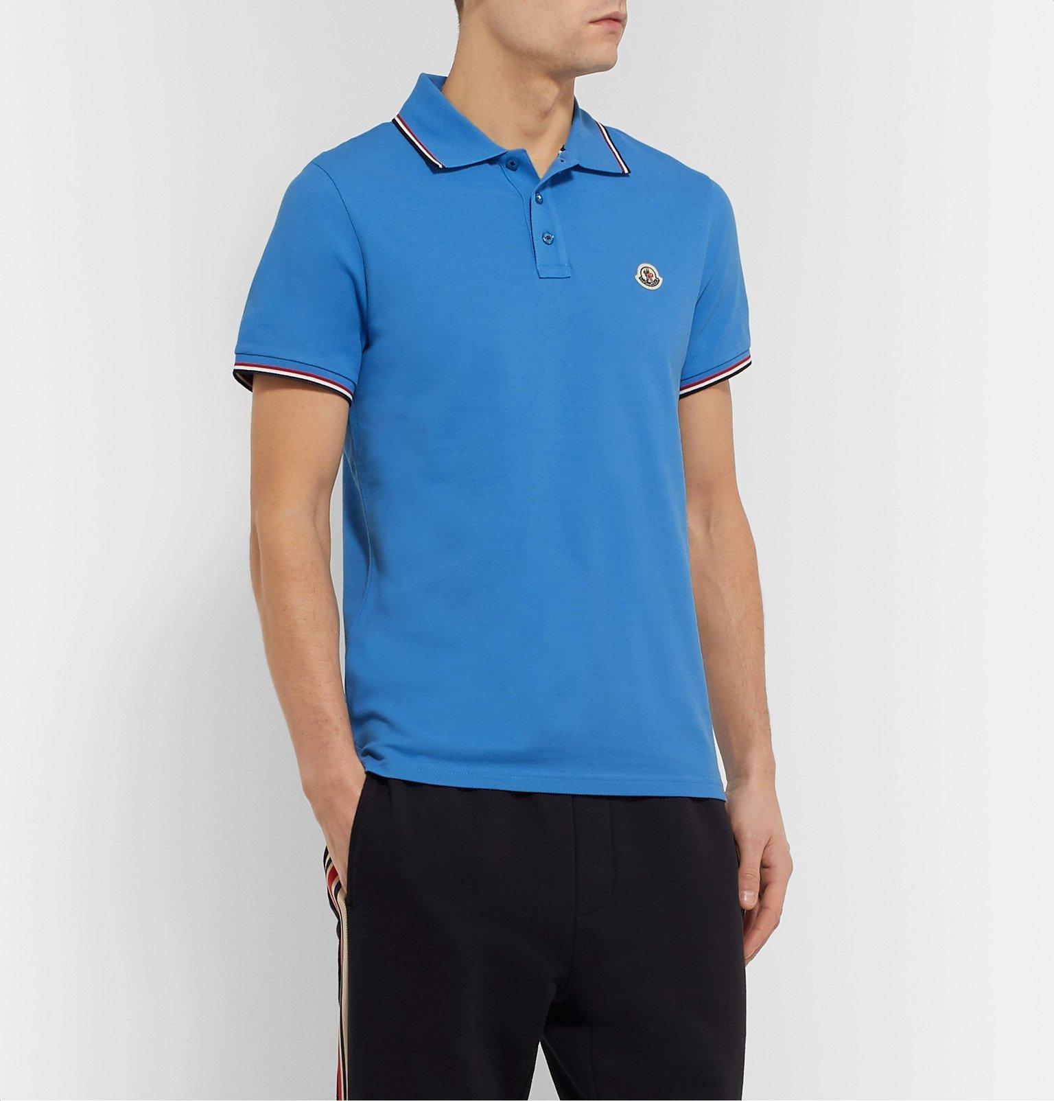 Moncler - Logo-Appliquéd Striped Cotton-Piqué Polo Shirt - Blue