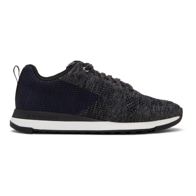 Photo: PS by Paul Smith Black and Blue Rapid Sneakers