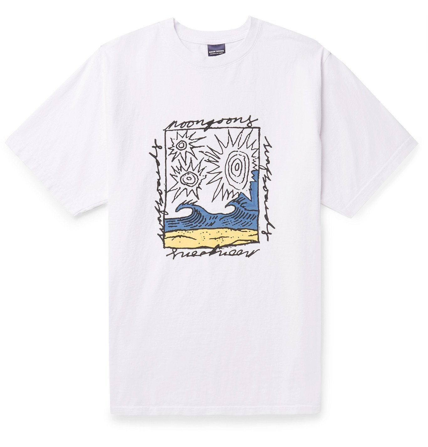 Photo: Noon Goons - Printed Garment-Dyed Cotton-Jersey T-Shirt - White