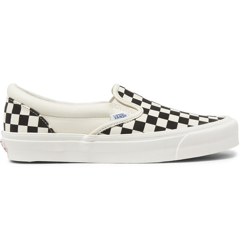 Photo: Vans - OG Classic LX Checkerboard Canvas Slip-On Sneakers - White