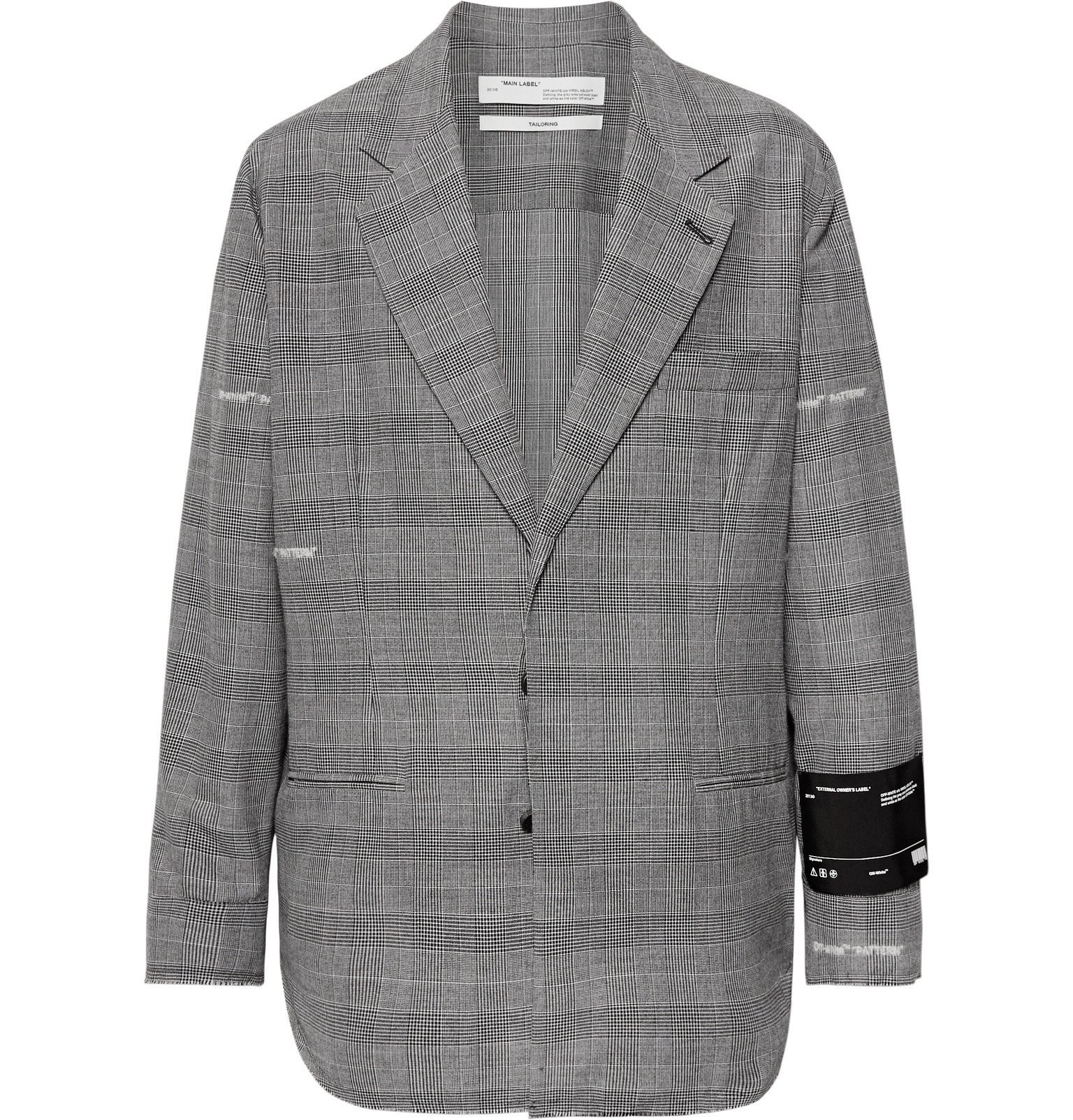 Photo: Off-White - Grey Logo-Embroidered Prince of Wales Checked Cotton-Blend Blazer - Gray