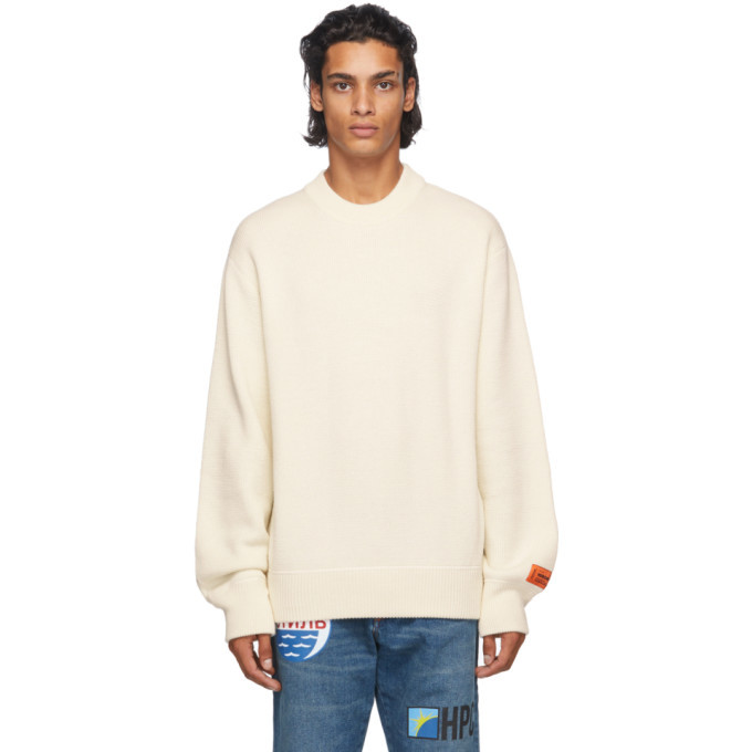 Photo: Heron Preston Beige Heron Stamp Sweater
