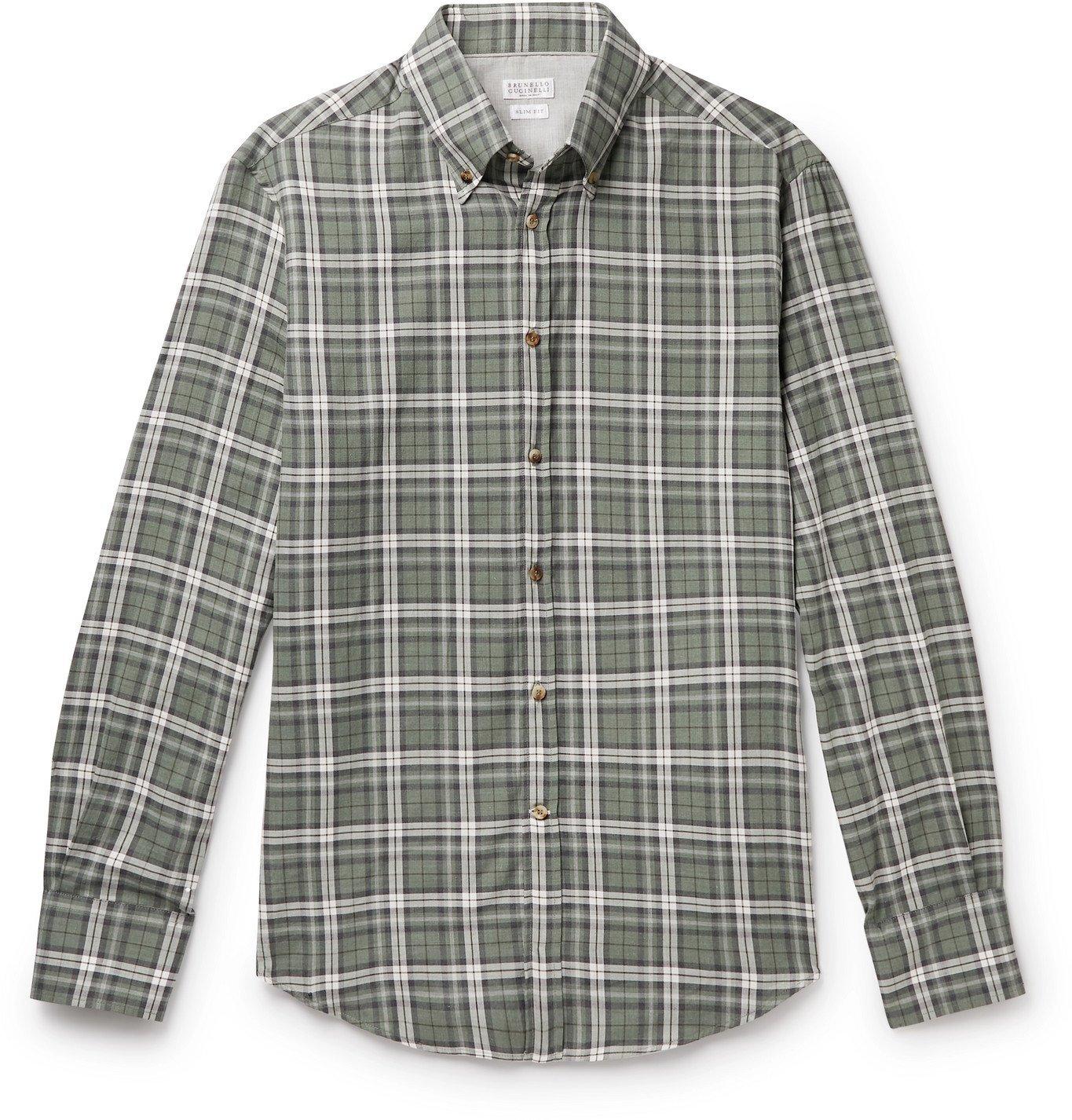 Photo: Brunello Cucinelli - Button-Down Collar Checked Cotton-Twill Shirt - Gray