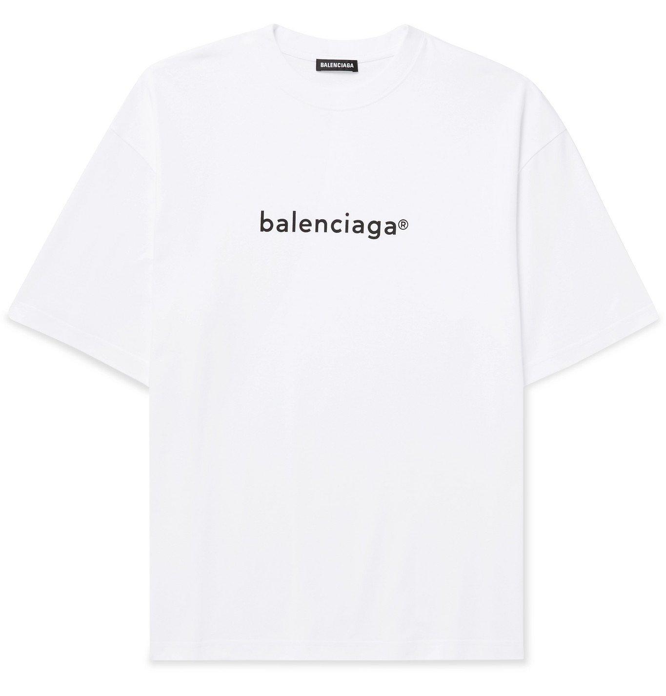 Photo: Balenciaga - Logo-Print Cotton-Jersey T-Shirt - White