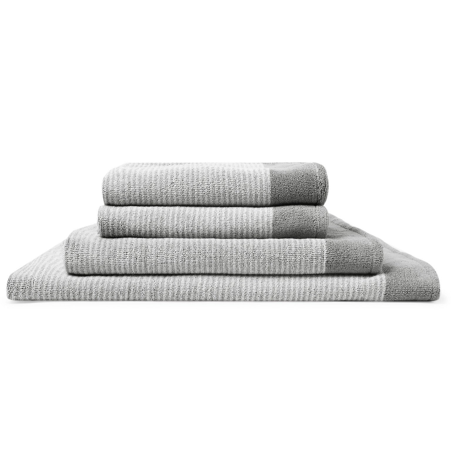 Cleverly Laundry - Set of Four Striped Cotton-Terry Bath Towels - Gray